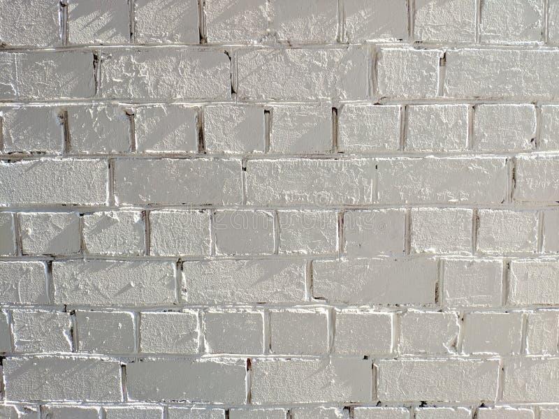 白色被绘的砖墙纹理无缝的背景 免版税库存图片