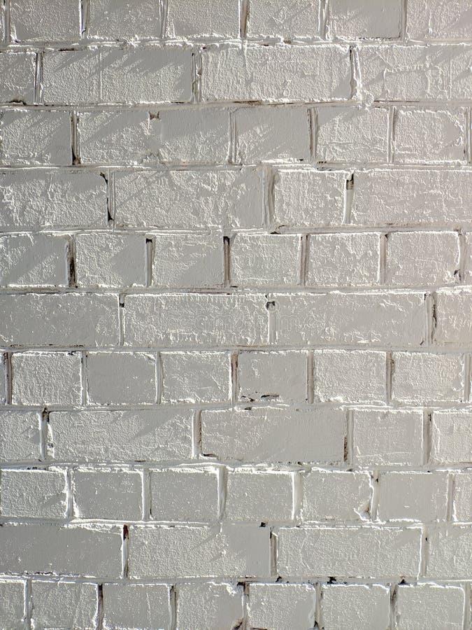 白色被绘的砖墙纹理无缝的背景 图库摄影