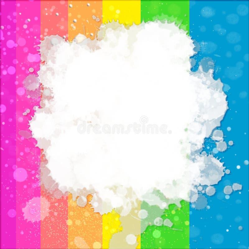 白色被绘的飞溅的颜色的例证在五颜六色的梯度背景的 免版税库存照片