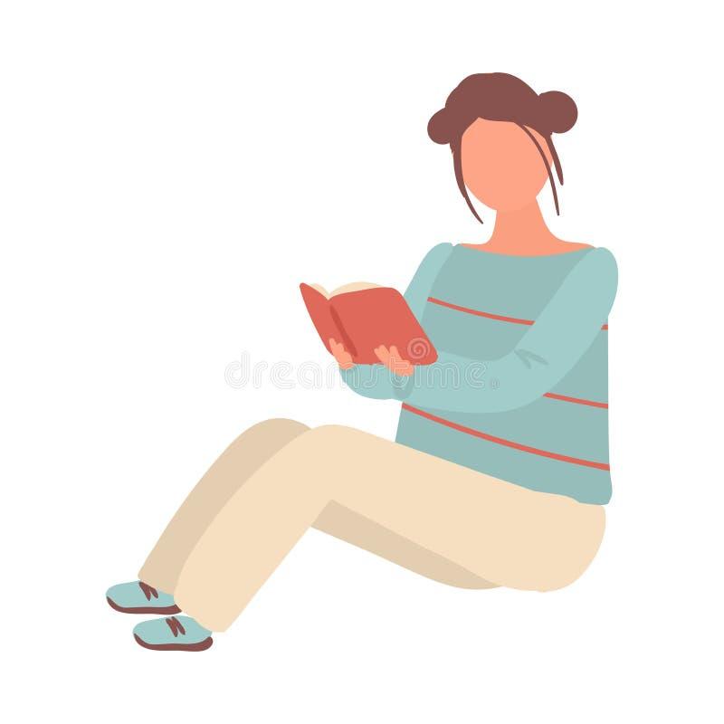 白色裤子的逗人喜爱的学生女孩在地板和看书上停留 向量例证