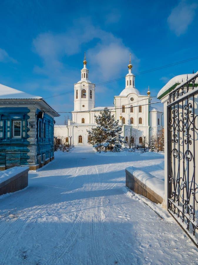 白色西伯利亚教会 免版税库存照片