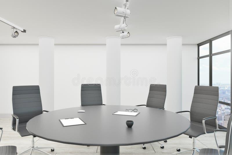 白色证券交易经纪人行情室 库存例证