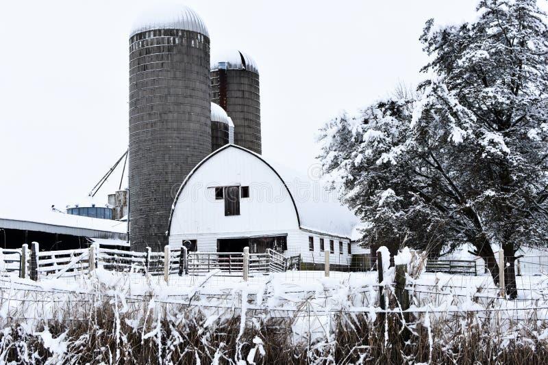 白色谷仓在与筒仓的冬天 免版税库存图片