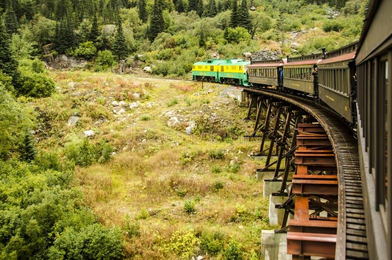 白色通行证和育空铁路SKAGWAY阿拉斯加 免版税库存照片