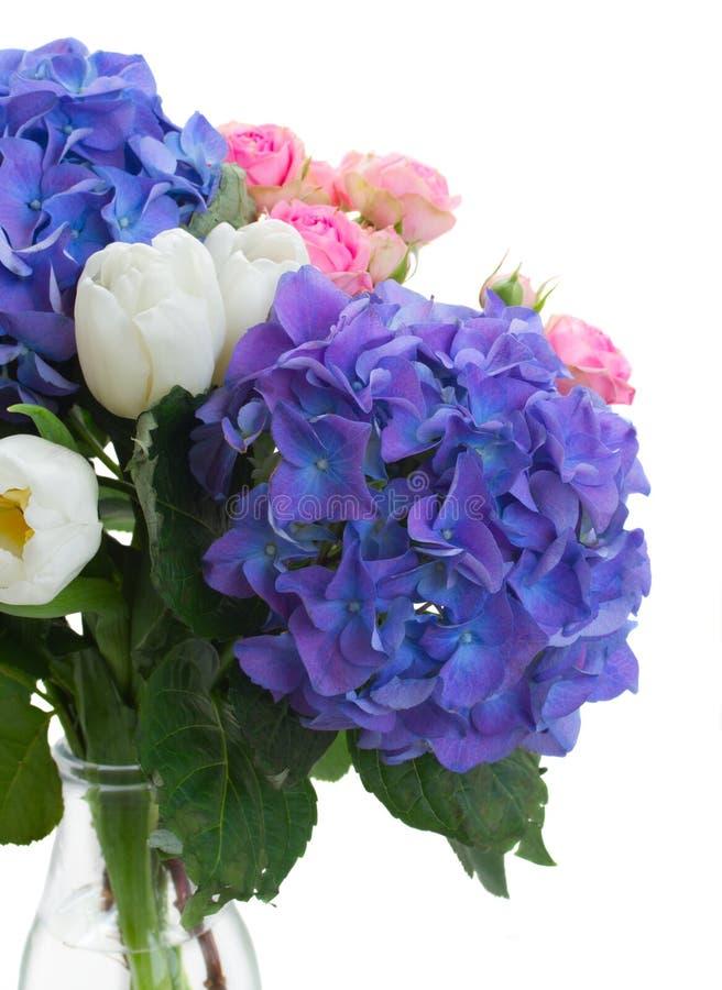 白色郁金香、桃红色玫瑰和蓝色霍滕西亚花 免版税库存图片