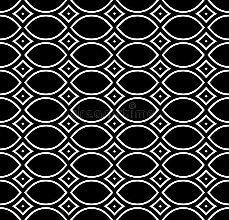 黑&白色重复装饰物纹理 库存例证