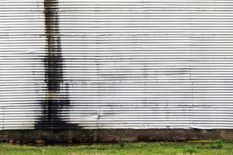 白色金属波纹金属壁锈草 库存照片