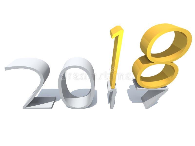2018白色金银铜合金摘要新年好前夕 皇族释放例证