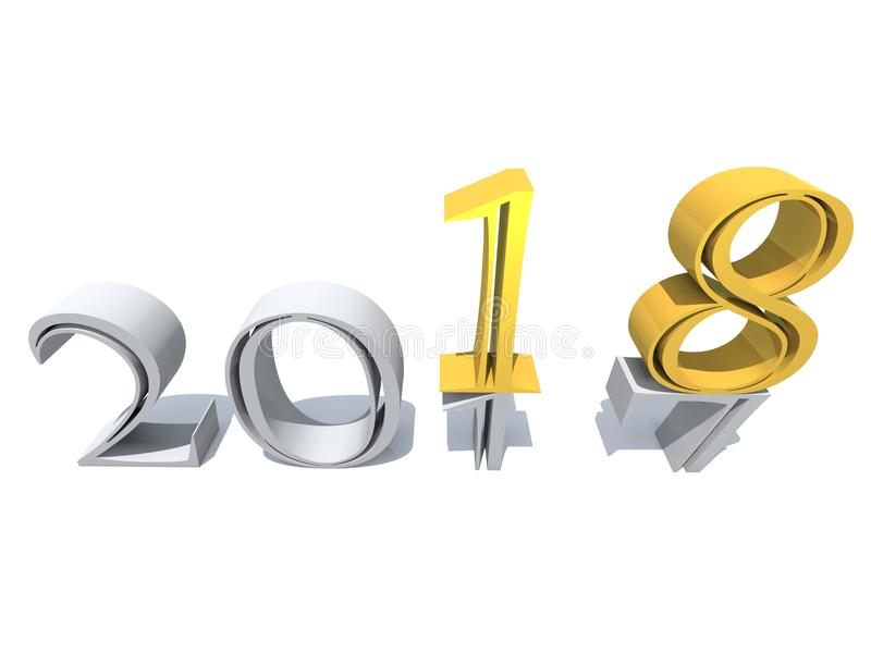 2018白色金银铜合金摘要新年好前夕 库存例证