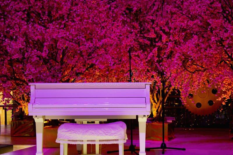 白色钢琴 免版税库存图片