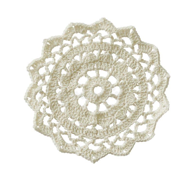 白色钩针编织小垫布 图库摄影