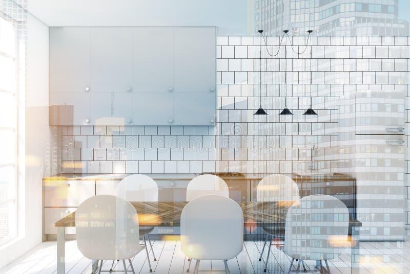 白色铺磁砖的厨房,被定调子的灰色工作台面 皇族释放例证