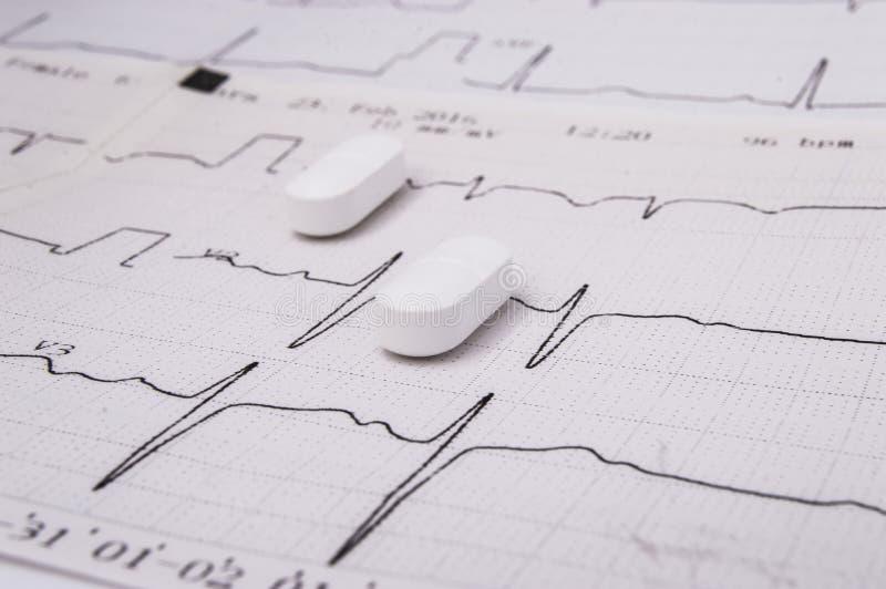 白色长方形药片或片剂心血管系统的疾病的治疗的作为选择-斯塔京谎言在选出的本文 库存照片
