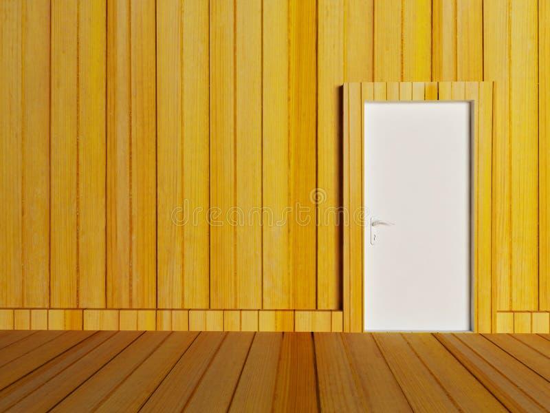 白色门在空的屋子 向量例证