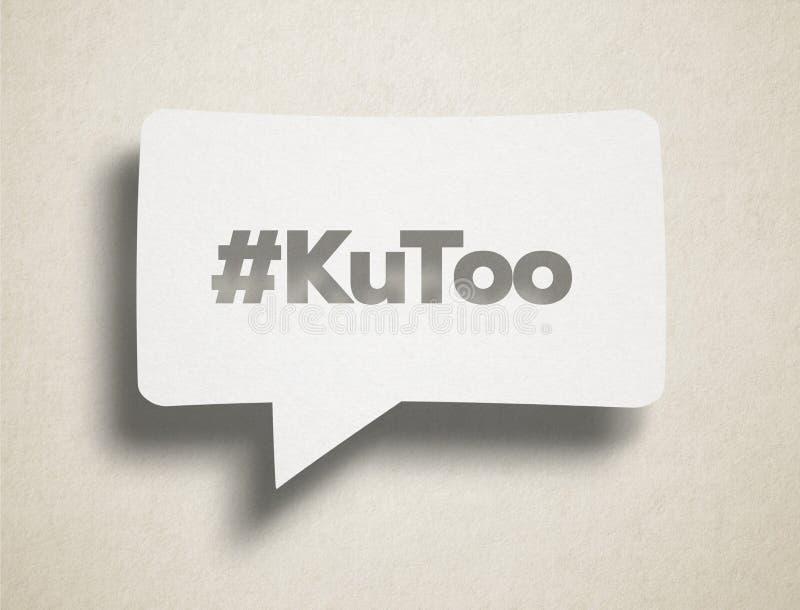 白色闲谈泡影和KuToo文本在纸板背景 向量例证