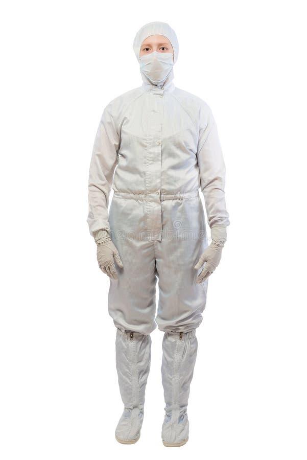 白色防护套服的化学家在全长 库存照片