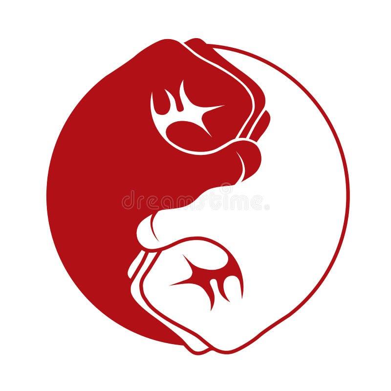 白色阴山严的拳头红色和做一个团结的象商标 库存例证