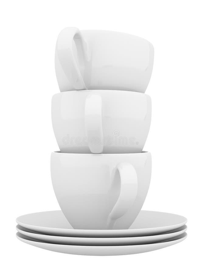 白色陶器和杯子 向量例证