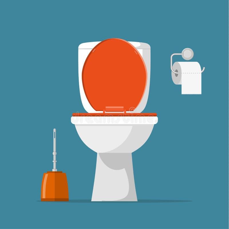 白色陶瓷洗手间, 向量例证