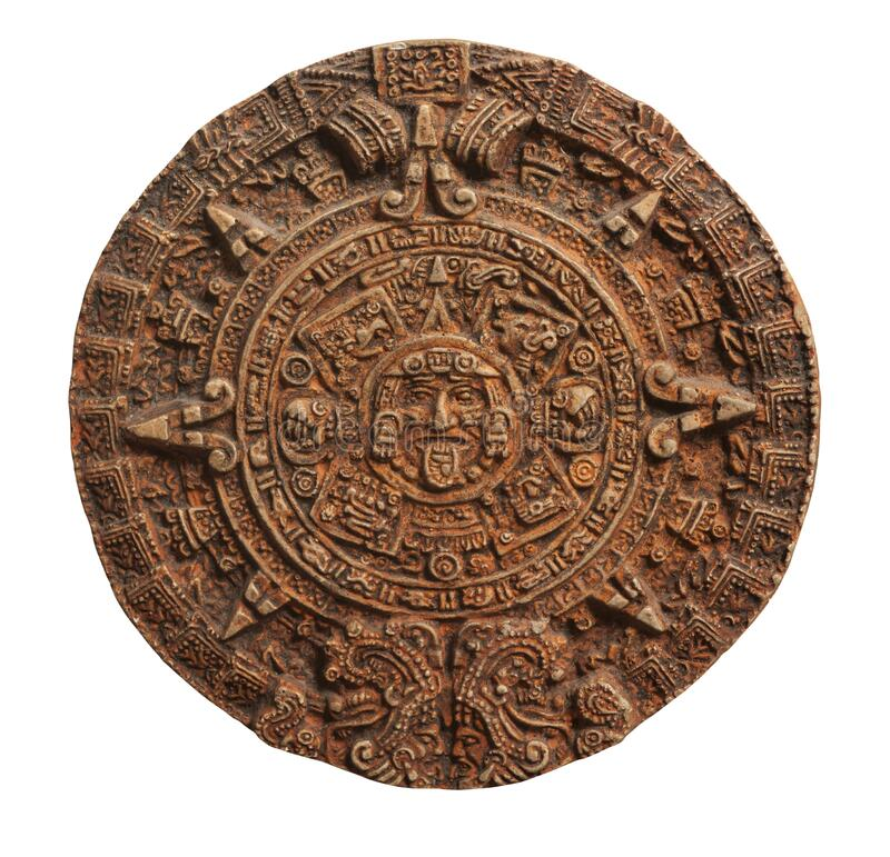 白色隔离的玛雅日历 免版税库存图片