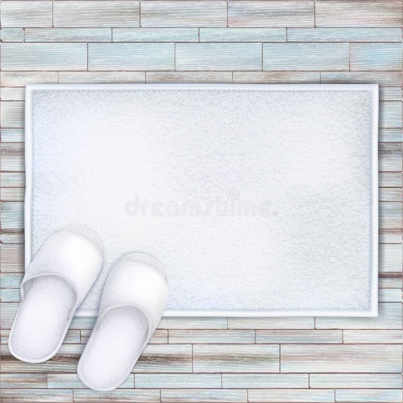 白色集合温泉展开的毛巾对拖鞋 皇族释放例证
