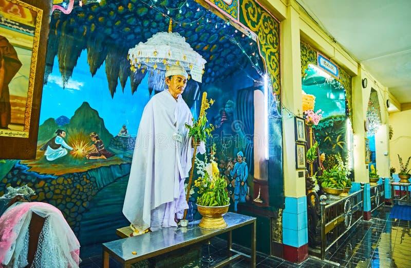 白色雕象, Sule Paya,仰光,缅甸 免版税库存照片