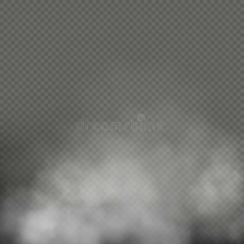 白色雾、烟或者薄雾在透明背景 特殊效果构成 10 eps 向量例证
