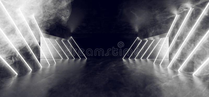 白色霓虹发光的被带领的管光抽有瓦片的雾科学幻想小说未来派黑暗的空的难看的东西水泥天花板地板反射性室 库存例证