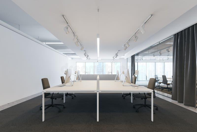 白色露天场所办公室和候选会议地点 库存例证