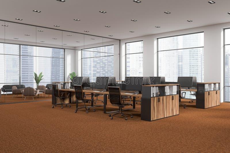 白色露天场所办公室角落,棕色地板 向量例证