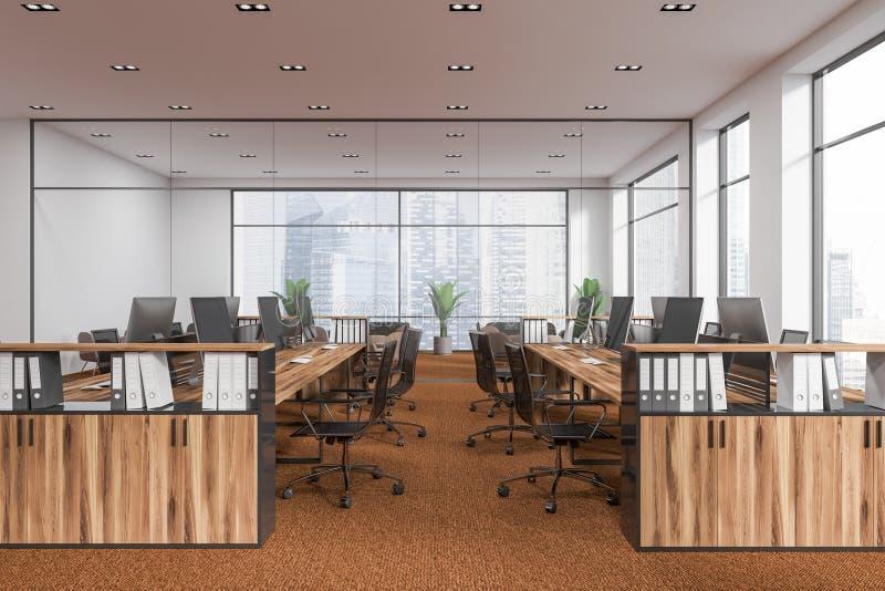 白色露天场所办公室,棕色地板侧视图 皇族释放例证