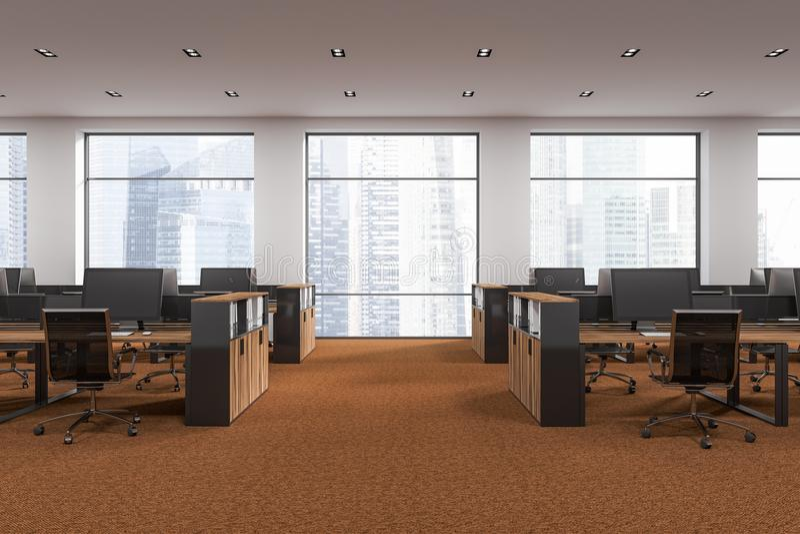 白色露天场所办公室,棕色地板正面图 向量例证