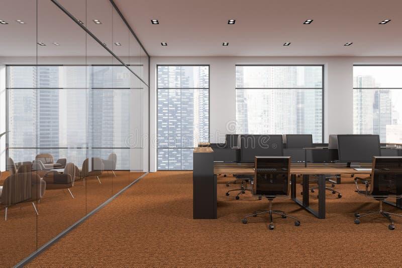白色露天场所办公室,棕色地板 库存例证