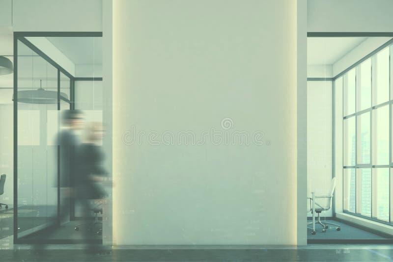 白色露天场所办公室,被定调子的死墙水族馆 库存例证