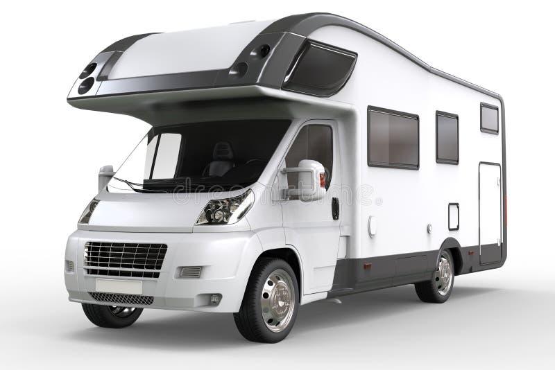 白色露营车车-演播室照明设备特写镜头射击 免版税图库摄影