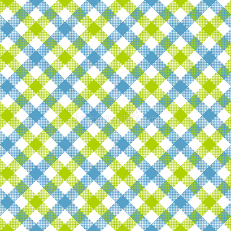 白色青绿的检查格子花呢披肩织品纹理无缝的样式 库存例证