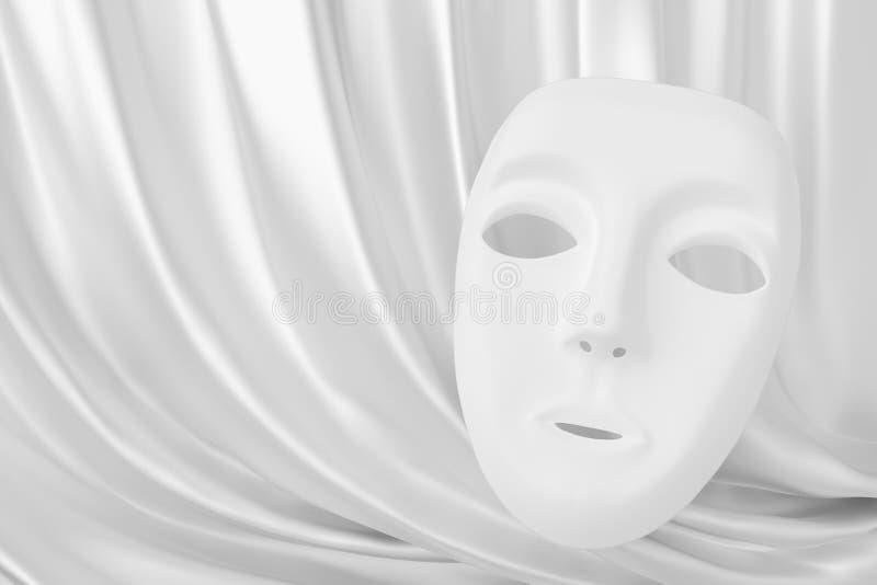 白色面具和丝绸剧院帷幕 免版税库存图片