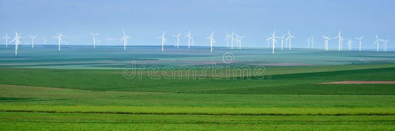 白色风轮机全景在农业庄稼层数的与各种各样的绿色树荫的,在阴暗天空,在多布罗加 免版税库存照片