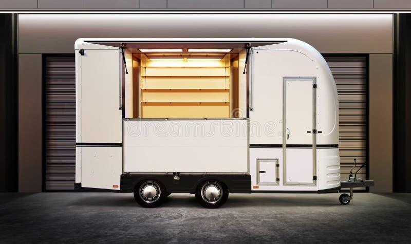白色食物卡车 免版税库存图片