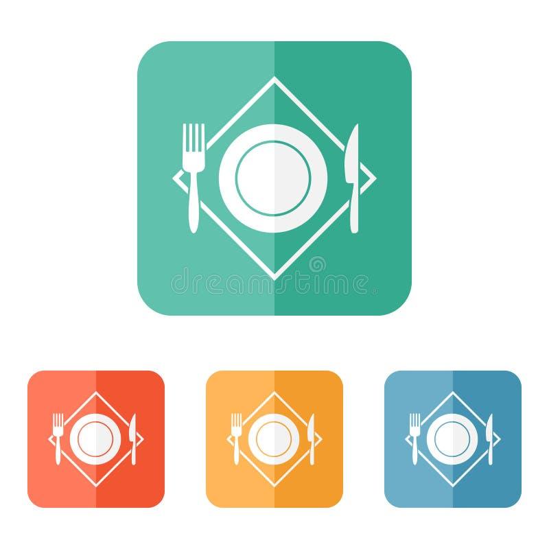 白色餐馆菜单象 板材,叉子,在餐巾的刀子 库存例证