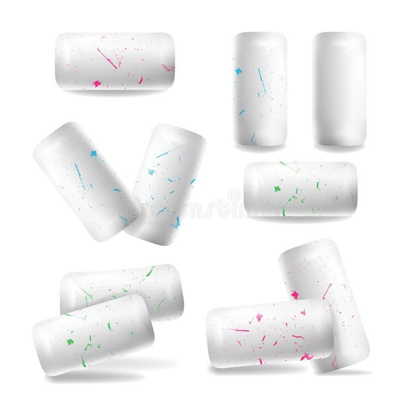 白色香口糖传染媒介 现实口香糖 红色,绿色,蓝色包括 按钮查出的现有量例证推进s启动妇女 向量例证