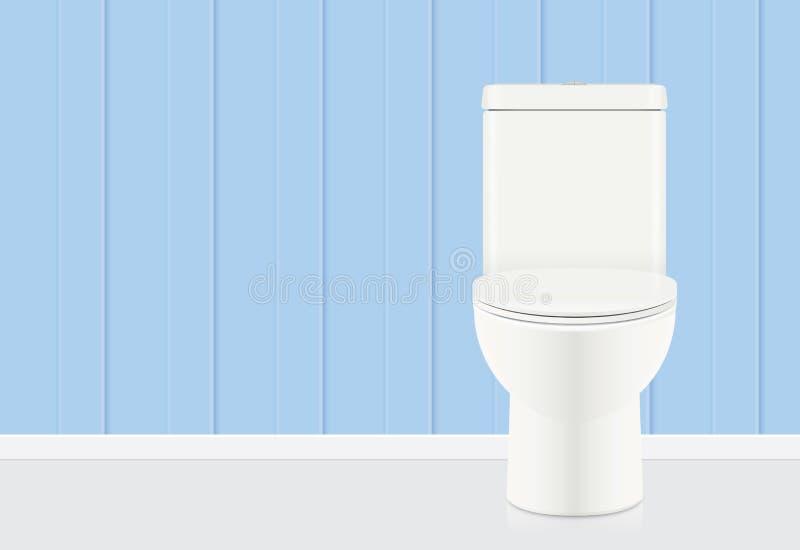 白色马桶在蓝色卫生间里 库存例证
