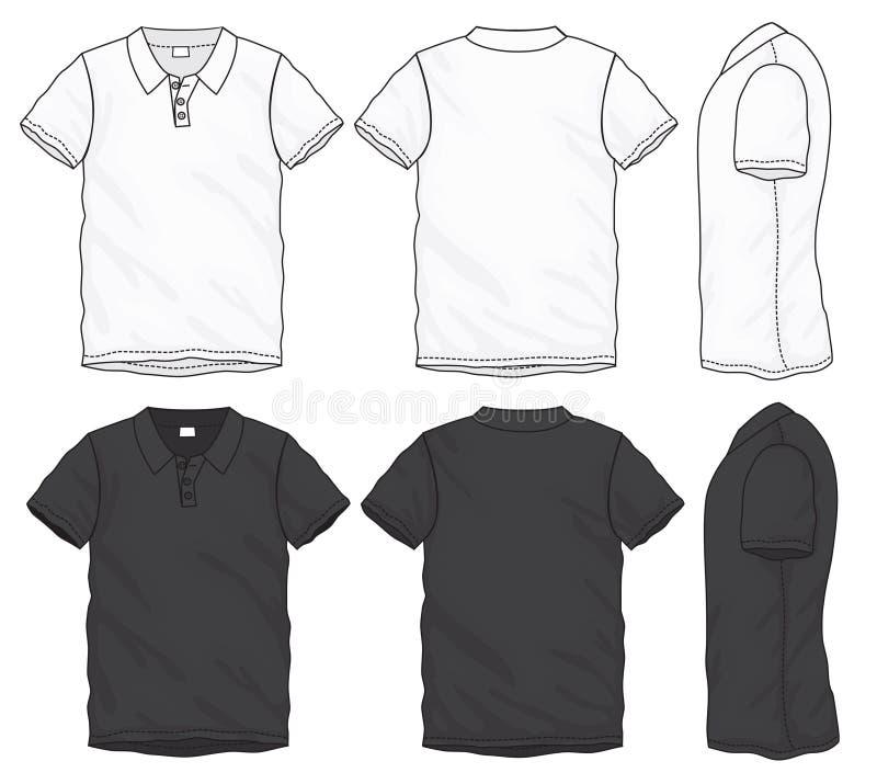 黑白色马球T恤杉设计模板 皇族释放例证