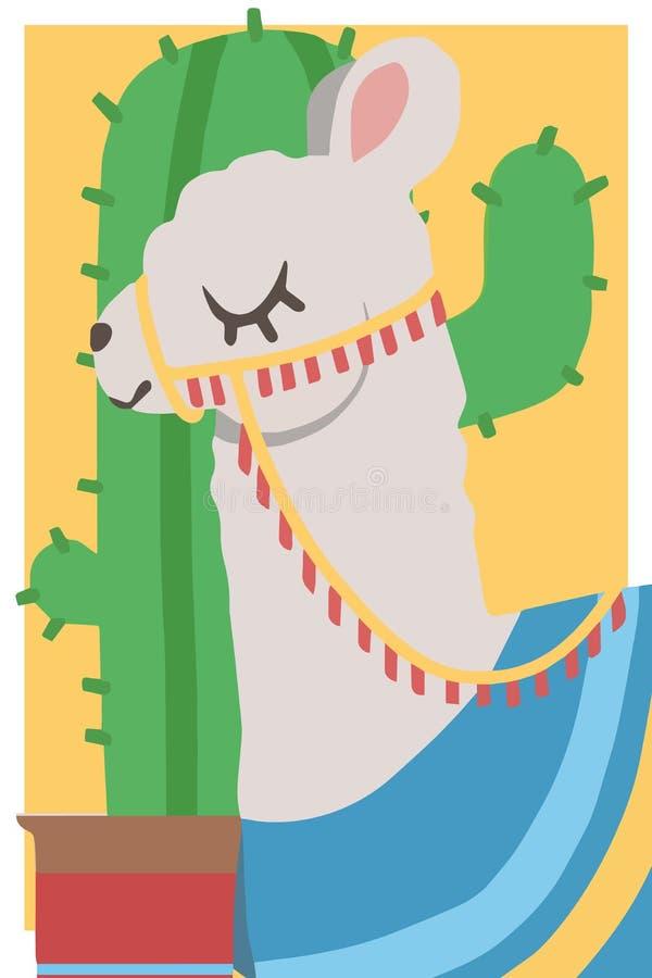 白色骆马的喇嘛逗人喜爱的动画片样式简单的动物向量图形例证图画与鞔具和蓝色雨披的在黄色 向量例证