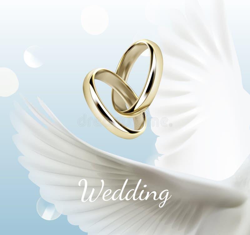 白色鸠翼和两结婚戒指,爱的标志的Vctor例证 库存例证