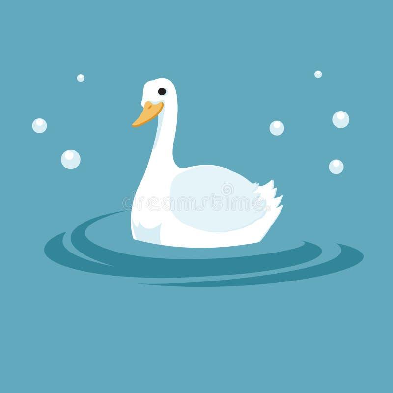 白色鸭子在跳动的湖 免版税库存图片
