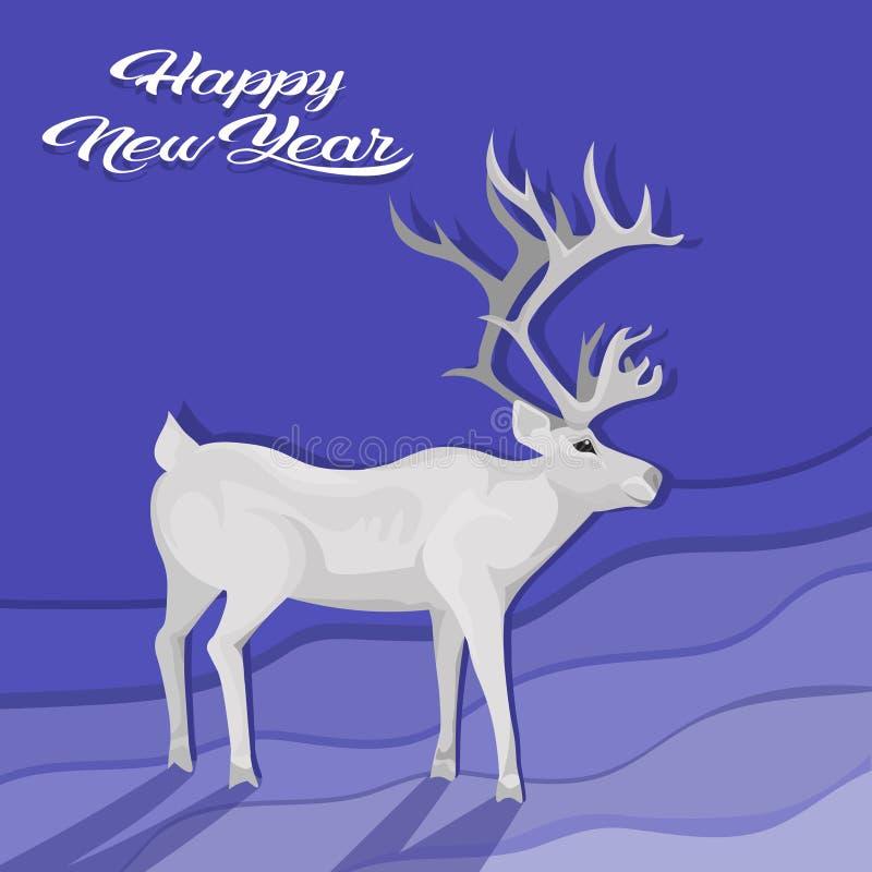 白色鹿动画片动物驯鹿平的蓝色背景圣诞节贺卡 皇族释放例证