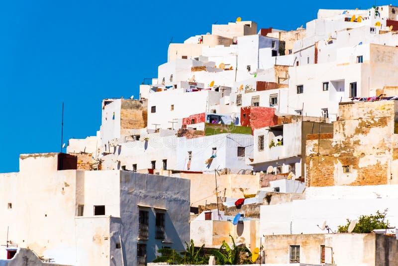 白色麦地那o美丽的景色得土安市,摩洛哥,非洲 库存照片