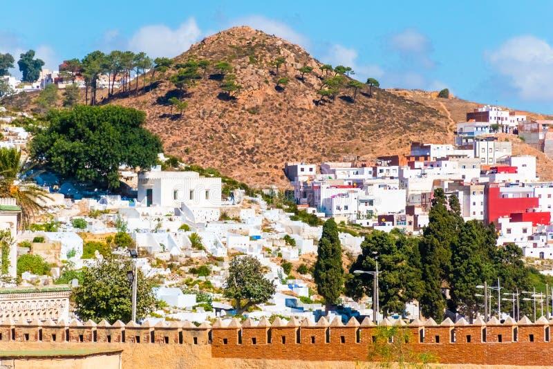 白色麦地那o美丽的景色得土安市,摩洛哥,非洲 库存图片