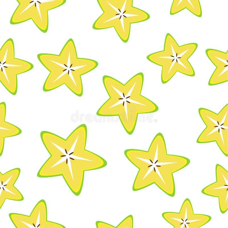 白色黄色星形苹果科兰博拉切片的矢量无缝背景 库存例证
